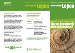 Flyer mit allen relevanten Daten zur fortlaufenden Trauergruppe in der Krisenberatungsstelle Reutlingen