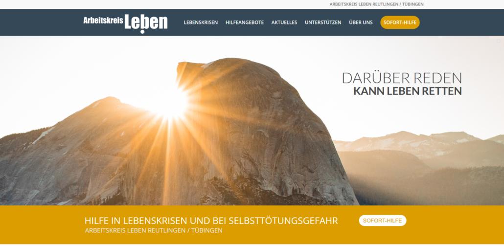 Zu sehen ist ein Screenshot der neuen Homepage des Arbeitskreis Leben e.V. Reutlingen / Tübingen