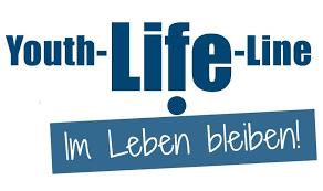 Arbeitskreis Leben Reutlingen / Tübingen Beratungsstelle. Blaue Schrift auf weißem Hintergrund mir dem Claim: Im Leben bleiben!